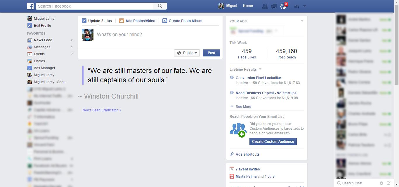 Antes e Depois do Facebook News Feed Eradicator